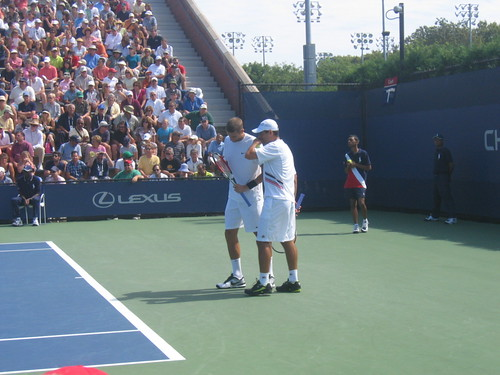 Mirnyi (l) and Ram (r), in a doubles match, US Open