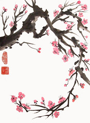 Curving Plum Branch (plasticpumpkin) Tags: pink tree art asian branches artists sakura curved angled pinkflowers plumblossoms arched brushpainting