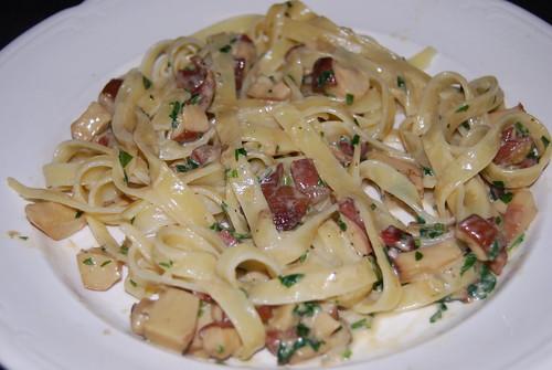paddenstoelen met pasta