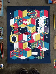 Fancy Future Cubes poster (Willbryantplz) Tags: illustration poster screenprint future fancy cubes mrfrench testeverything