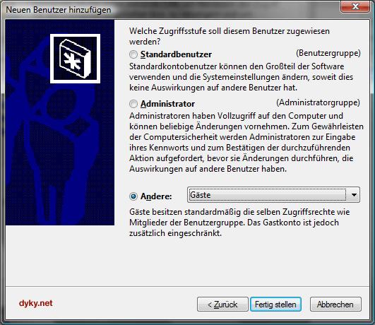 Neues Gastkonto unter Windows Vista Home anlegen - Schritt 3: Zugriffsstufe einstellen