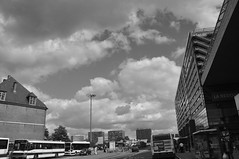 Railway- station (Julka2009...(mostly off)) Tags: street old windows sky people urban bw sunlight white black france bus beautiful station architecture modern clouds buildings reflections railwaystation lille fotocommunity nikond90 flickraward