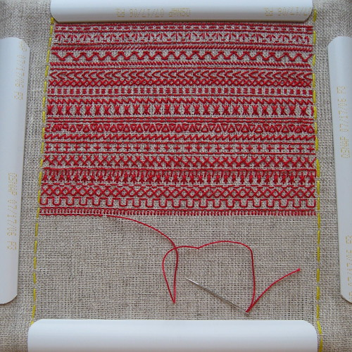 Redwork embroidery sampler