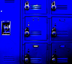 All I see is Blue. (mr.sushiman) Tags: blue shadow white black lockers contrast high shiny lock highlights minimal tape processing pathetic 317