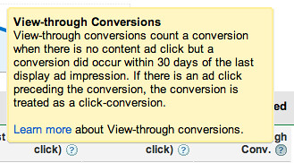 Google View Through Conversions