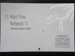 2008-01-27-Stoneleigh-2007-21-01-Network 11 (russellstreet) Tags: newzealand sculpture auckland nzl manukau aucklandbotanicalgardens sculpturesinthegarden2007 stoneleighsculpturesinthegarden2007 mattpine network11