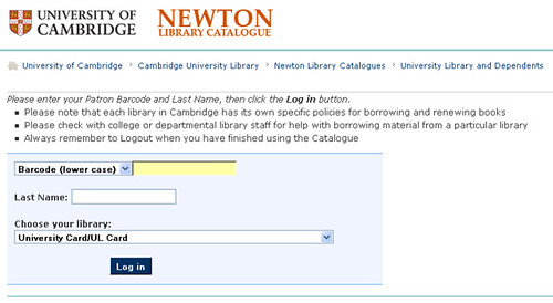 Cambridge Univresity Library login screen