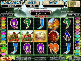 free T-Rex slot bonus game