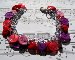 Valentine's Day button charm bracelet (randomcreative) Tags: pink red silver fun purple jewelry bracelet etsy simple valentinesday charmbracelet lobsterclasp plasticbuttons randomcreative buttoncharms
