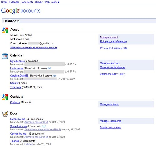 Google Accounts Dashboard Louis Volant