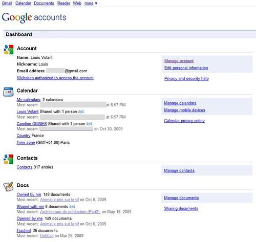 Google Accounts Dashboard Louis Volant