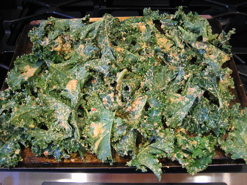 Kale Chips spread out on tray