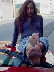 Bare Soles Resting on the Windshield (RoughToughSoleMan) Tags: girls woman cars car female fetish foot high women toes bare dry arches heels latina rough tough soles ebony cracked stomping trampling arched calloused