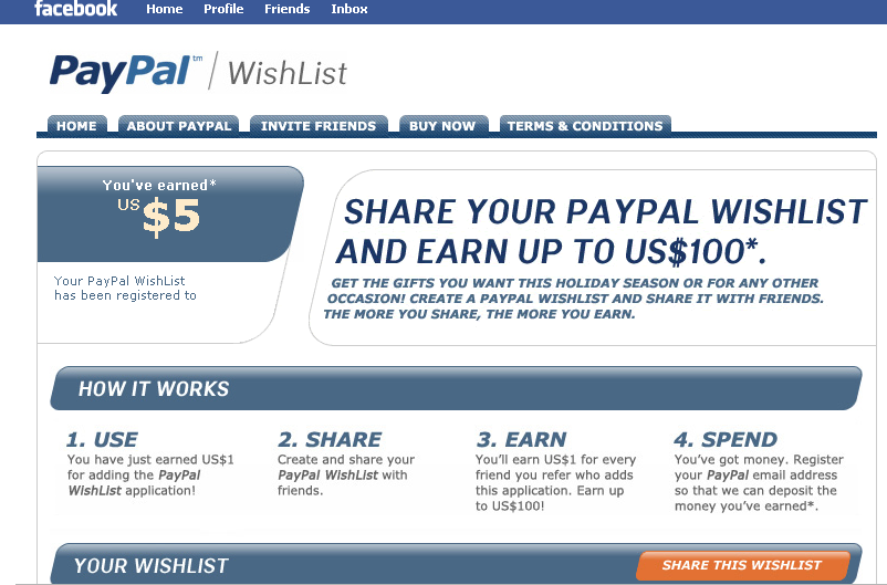 paypal wishlist on facebook