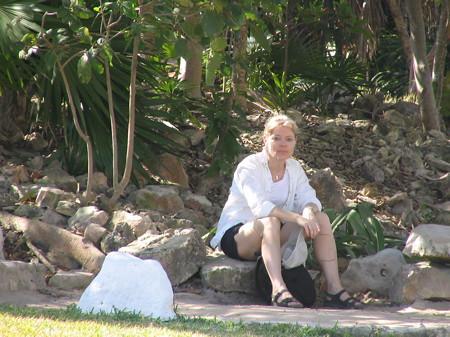 Ruth taking a break at Tulum ruins