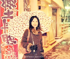 Miss. Satsuki (Glenn Waters in Japan.) Tags: street winter woman snow beautiful japan lady night umbrella asian japanese nikon young stunning    f28          iso6400   d700  glennwaters  travelsofhomerodyssey afsnikkor70200mmf28gedvrii