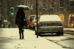 Solitary walk ... (MOHSEN MaSoUmI) Tags: snow car scotland edinburgh greenlight solitarywalk mohsenmasoumi