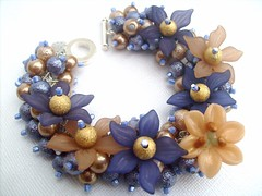 016 (kim smith charm bracelets) Tags: uk flowers blue flower glass fashion night garden gold lily handmade jewelry charm pearls jewellery bracelet pearl seller beaded lavendar