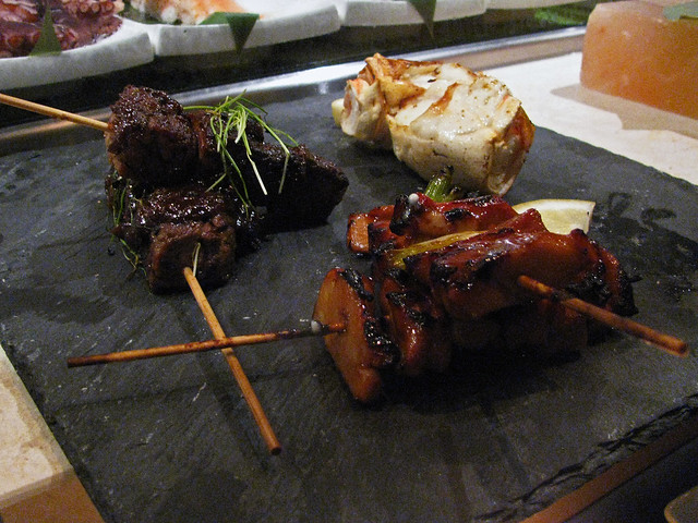 chicken, short rib, king crab robata