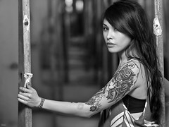 Brittany (awallphoto) Tags: arizona portrait blackandwhite bw phoenix tattoo 35mm hair asian brittany dof az olympus 100mm tattoos depthoffield ft hiphop f2 zuiko f25 43 e5 shg 200mm 70mm zd fourthirds awall 35100mm blackwhitephotos aaronwallace arizonahiphop awallphoto 70200mmequivalent awallphotocom