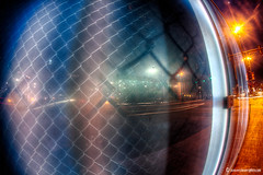 Urban Fisheye in Glass (ericbowers) Tags: urban motion blur fence highway eric traffic overpass missouri bowers grandavenue canonef15mmfisheye downtownloop club16 canon5dmarkii