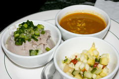 Malanga, pickled eggplant, curry soup
