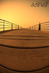 Alone + Long Way = ? (Sadeq Nader Abul) Tags: bridge sunset fish eye canon mark fisheye ii 5d kuwait nader souq sharq sadeq  abul