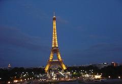 Night view of Eiffel Tower, Paris, France