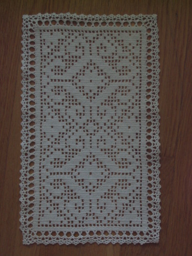 Filet Crochet Doily with Cluster Edging