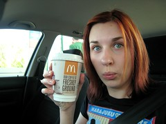 226 - Road Trip! (~*rin*~) Tags: birthday selfportrait coffee face car mouth hair nose eyes roadtrip mcdonalds photoaday tee harajukulovers project365 365days 3661 canonixus850is