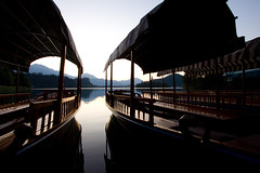 Bled (Bas Lammers) Tags: sunset summer lake church sunrise canon island boat slovenia bled hdr 50d