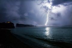/ (Dan. D.) Tags: ocean light sea summer cloud seascape canada storm reflection water landscape fire quebec explore bolt lightning frontpage gaspesie perce percé vosplusbellesphotos