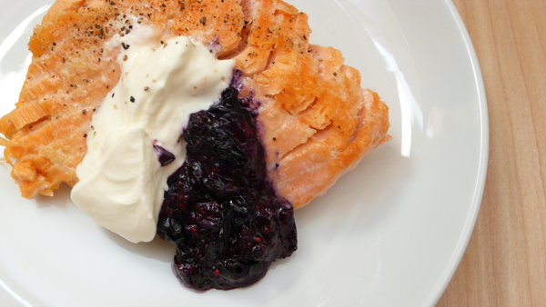 salmon with blueberry mustard and sour cream