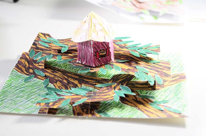 birdhouse pop-up card   finished with sea-shells on roof