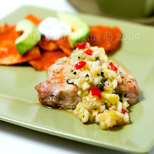 Pork chops and apple salsa