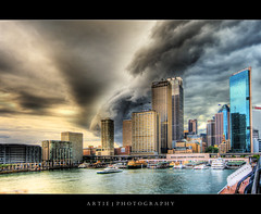 Sydney Under Severe Storm Attack! :: HDR (Artie | Photography :: I'm a lazy boy :)) Tags: city cloud storm wet rain weather ferry architecture photoshop canon buildings bravo view angle cs2 wind cloudy wide sydney dramatic overcast australia stormy circularquay handheld newsouthwales therock 1020mm hdr severe artie 3xp sigmalens photomatix tonemapping tonemap 400d rebelxti sydneycircularquay