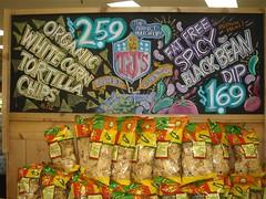 Super Bowl Snacking (misterbigidea) Tags: white black art sign chalk corn artist display super joe bowl bean chips snack traderjoes chip snacks spicy organic joes chalkboard dip tortilla fatfree dipping trader traderjoe