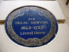 Photo of Isaac Newton blue plaque