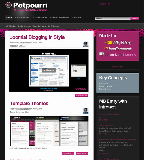 Potpourri - MyBlog JomComment Ad Agency Template