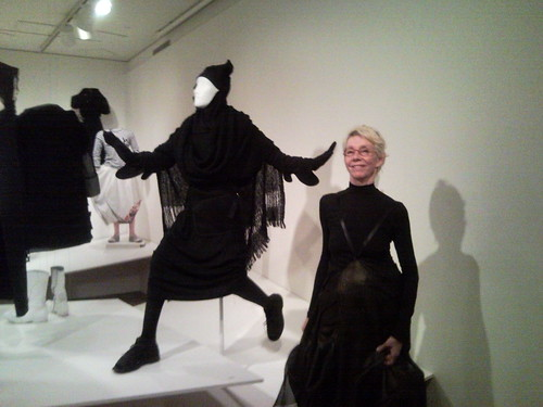 Mary Baskett in front of Rei Kawakubo outfit