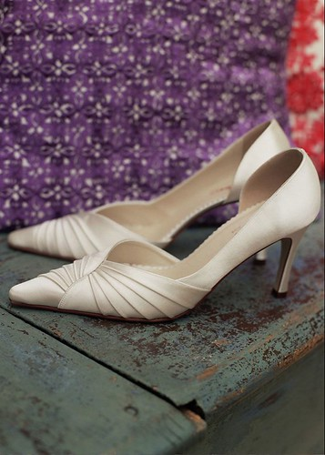 An elegant wedding shoes.