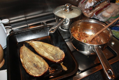 Hollowed-out aubergines ready to be filled