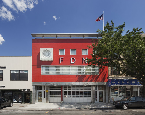 Designed by RKT&B Architecture, the Engine Company 201 firehouse in Sunset Park Brooklyn was commissioned under the DDCs Design and Construction Excellence program. (Courtesy Albert Vecerka/Esto)