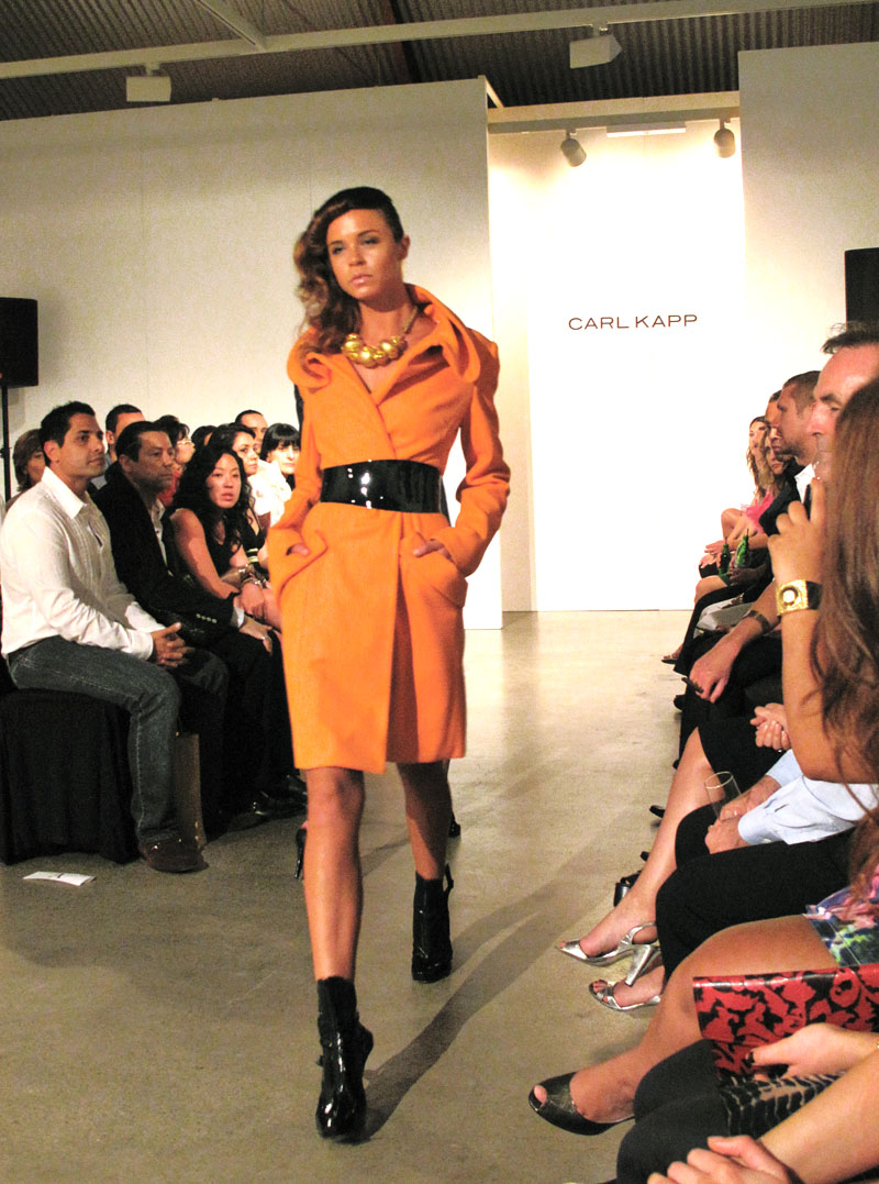 Carl Kapp Orange coat with rolled collar detail AW10