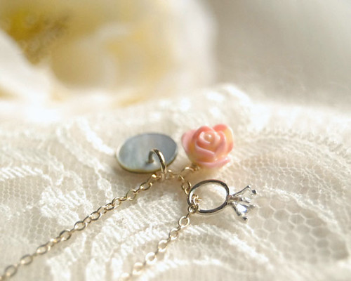 First Love - Necklace. Romantic. Whimsical sweet. Charm necklace.