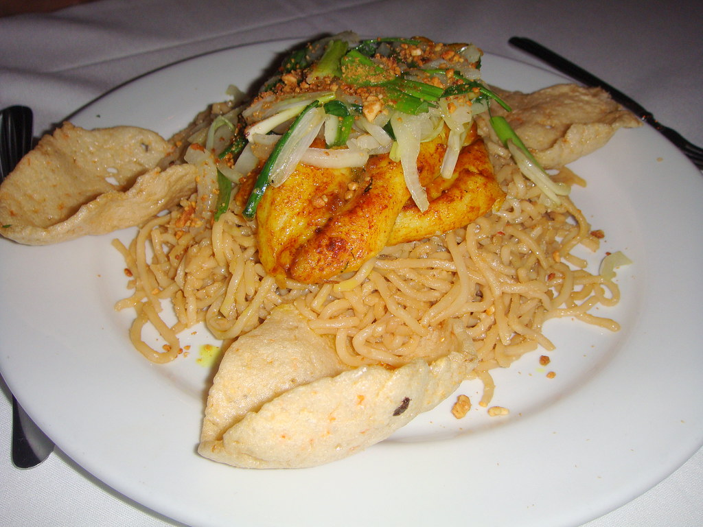 Basa Fish over Garlic Noodles