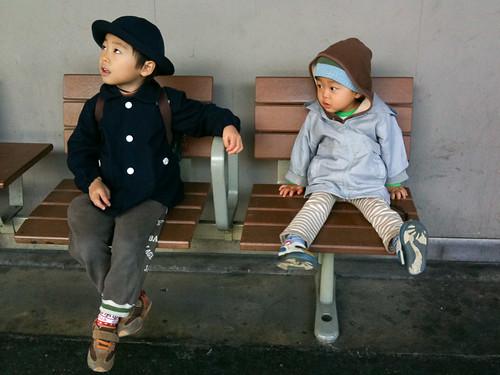 wating for a Kanjo-sen, a train in Osaka