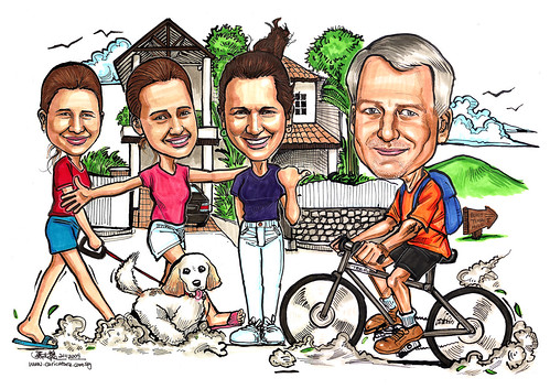 Family caricatures - cycling home A4
