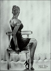 "i.Antons ""curtain call"" by me ~ (~bumblebee(mirella)~) Tags: woman art pencil drawing facebook mirella curtaincall ianton"