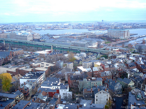 birds eye of Boston